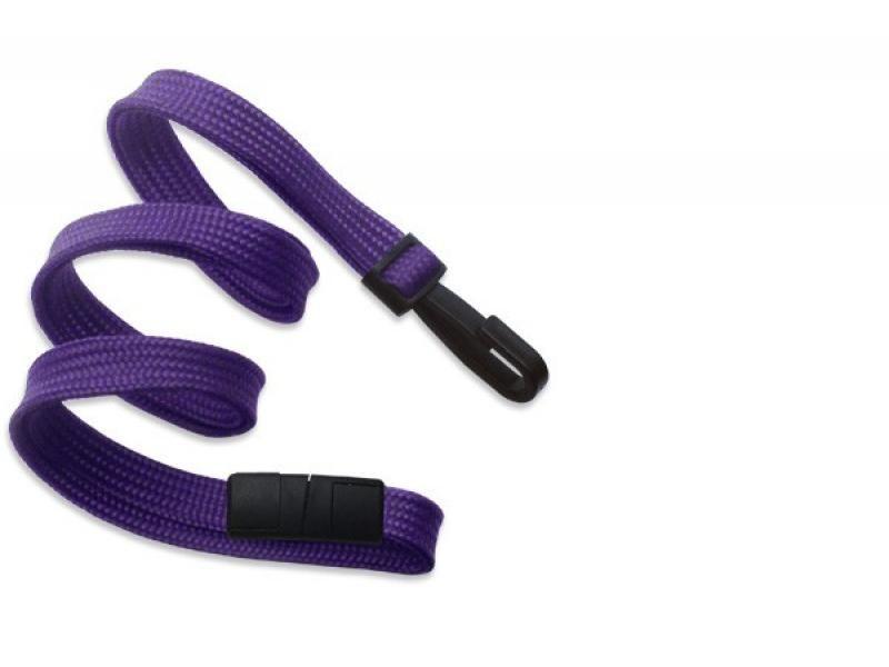 2137-4095 Purple Break-Away Flat Woven Lanyard with Plastic Hook