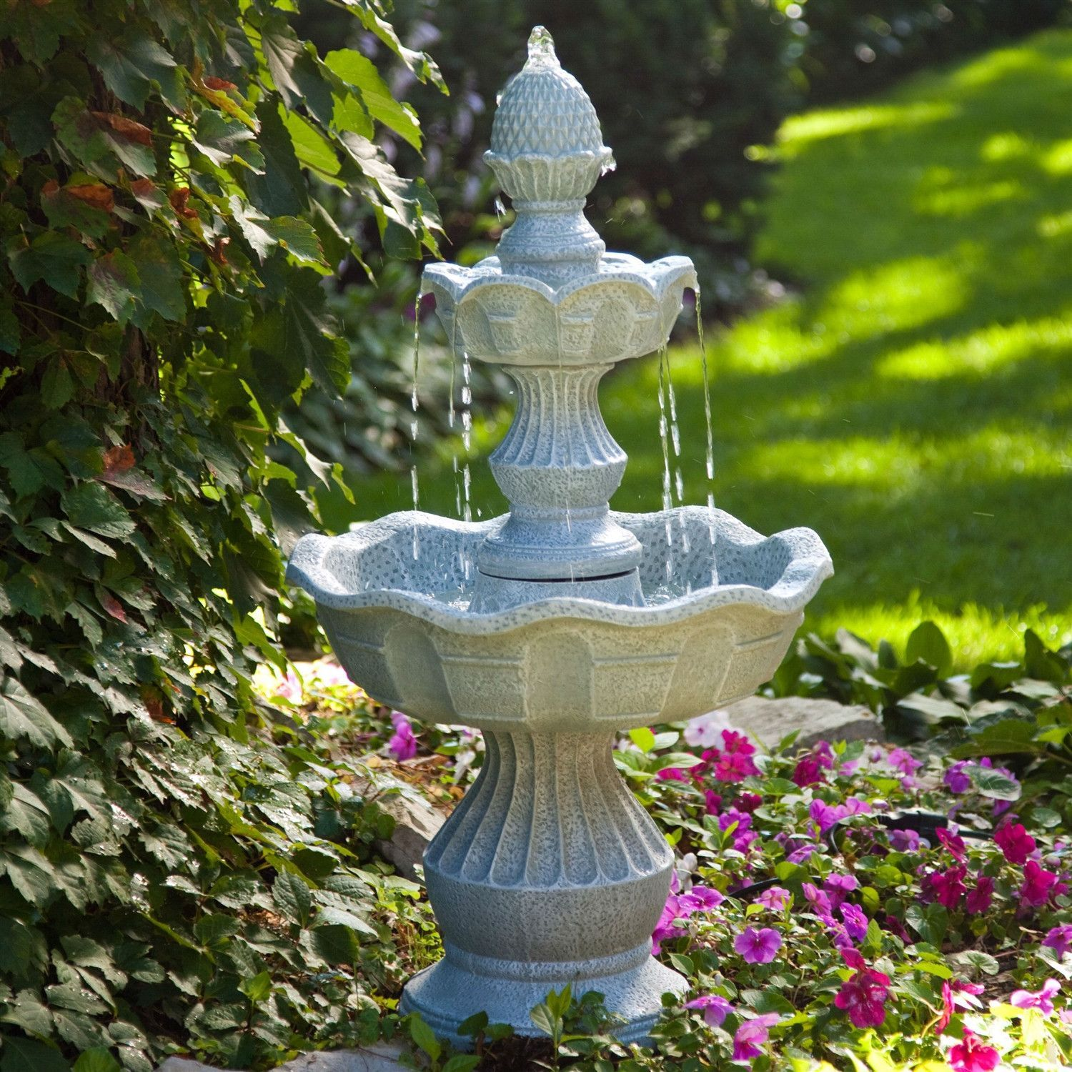 2 Tier Outdoor Fountain With Pineapple Top In Weather Resistant Resin Garden Fountains Garden Water Fountains Tabletop Fountain