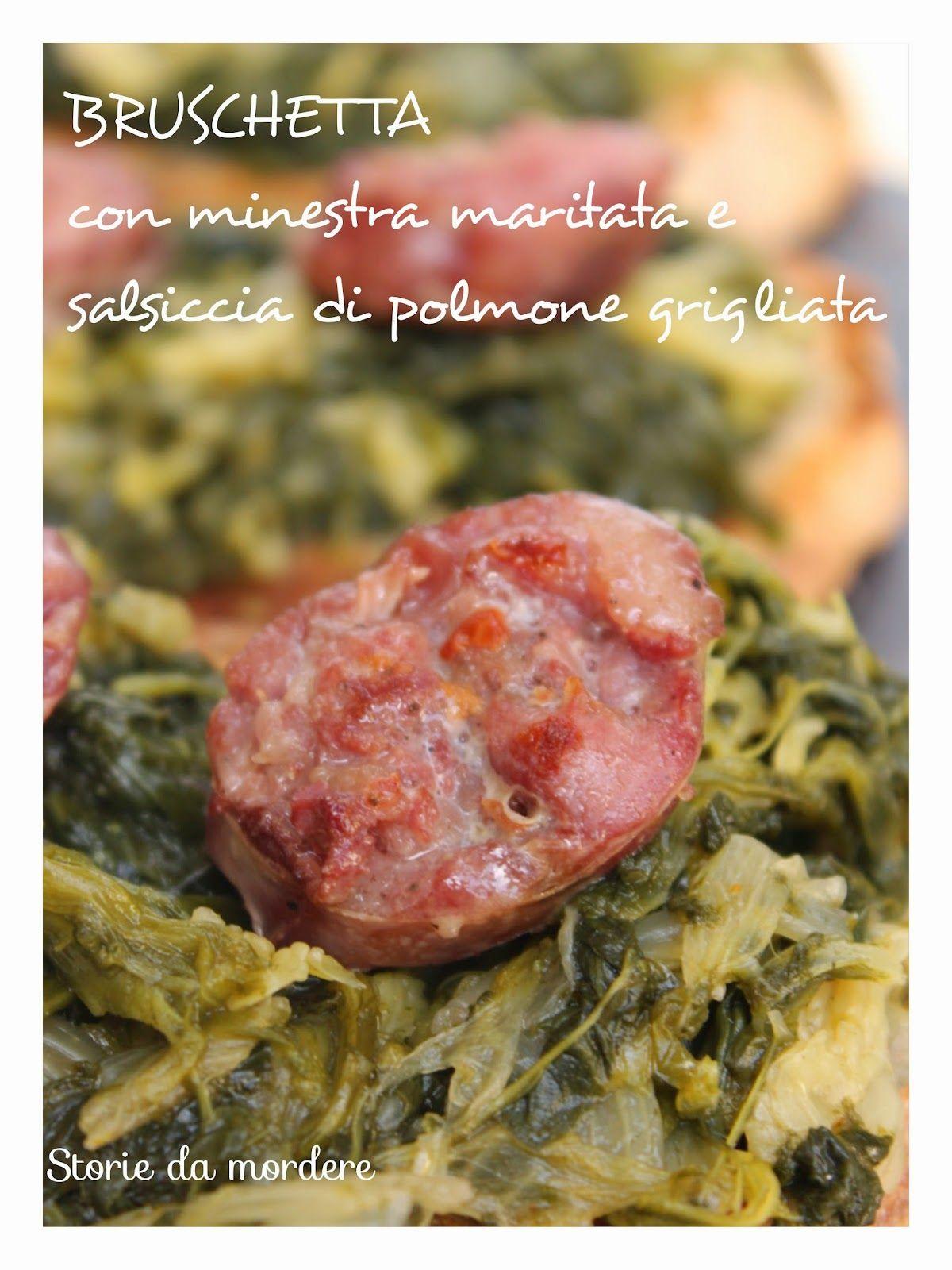 """Bruschette con minestra  """"semi-maritata"""" e salsiccia di polmone"""