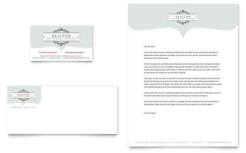 Realtor  Realty Agency Business Card  Letterhead Template By