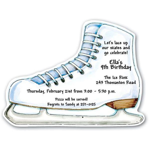 Ice Skates Party Invitations Ice Skating Pinterest Skate - Free birthday invitation templates hockey