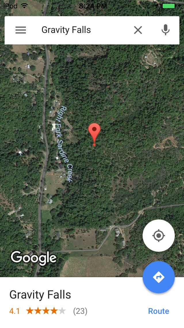 is this where the real gravity falls is the google maps led me