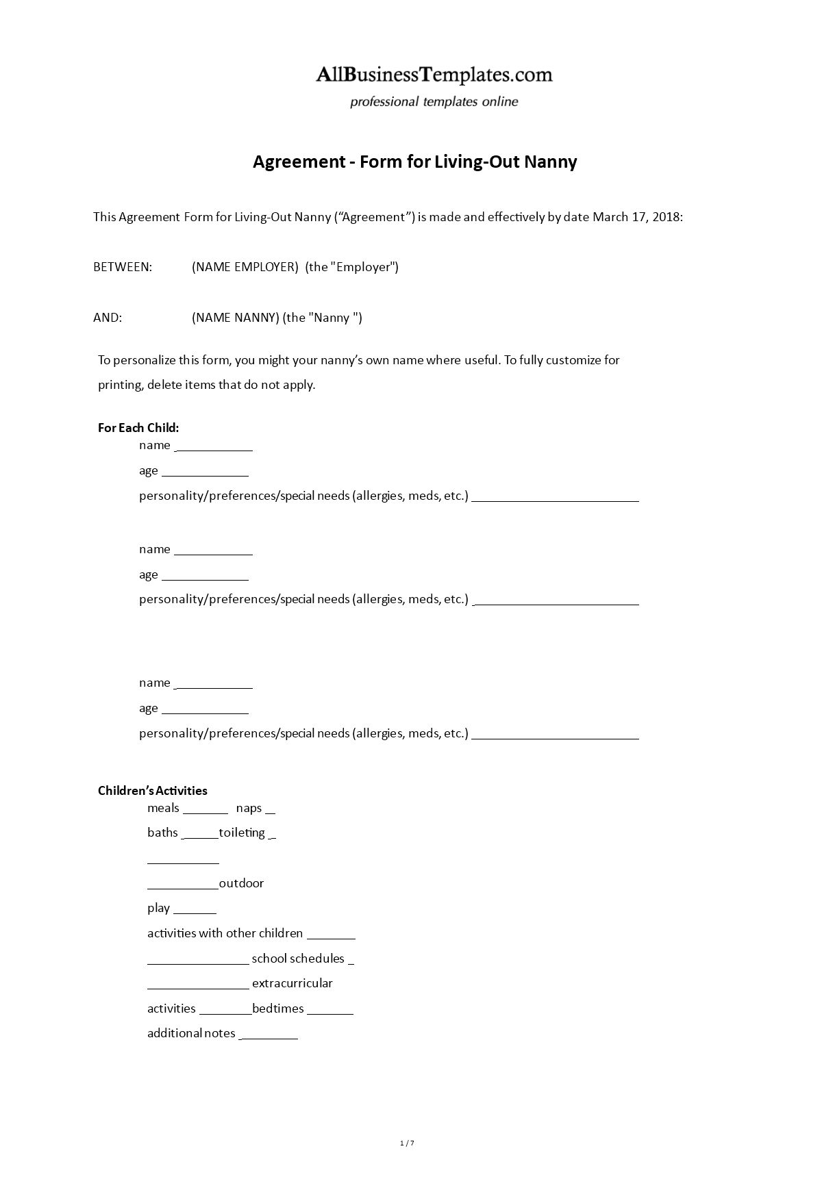 Live Out Nanny Contract in 2020 Nanny contract template