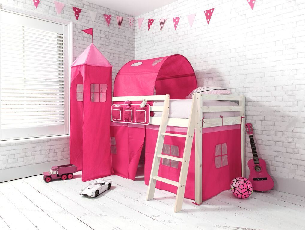 Pretty Pink Cabin Bed Midsleeper with Tent Tunnel and Tower | £149.99 | # & Pretty Pink Cabin Bed Midsleeper with Tent Tunnel and Tower ...