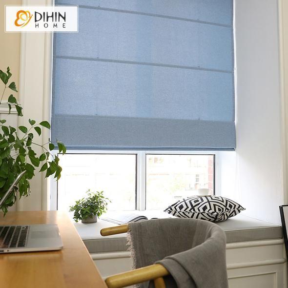 DIHIN HOME Simple Solid Blue Printed Roman Shades ,Easy