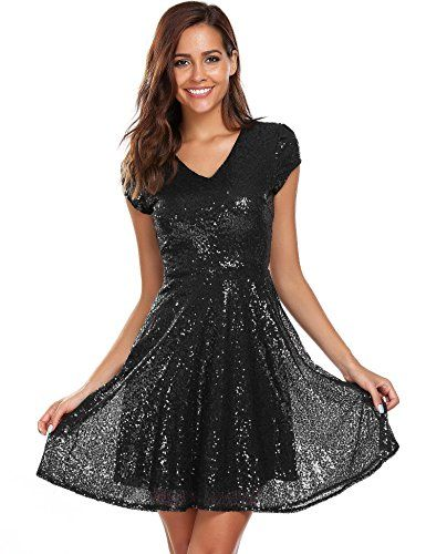 Womens Sequin Dress V Neck Cap Sleeve Sparkle Cocktail Club Party ...