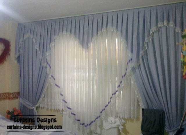 Romantic Curtain Design Ideas Blue Heart Style Curtain Designn Curtain Decor Home Curtains Curtain Designs