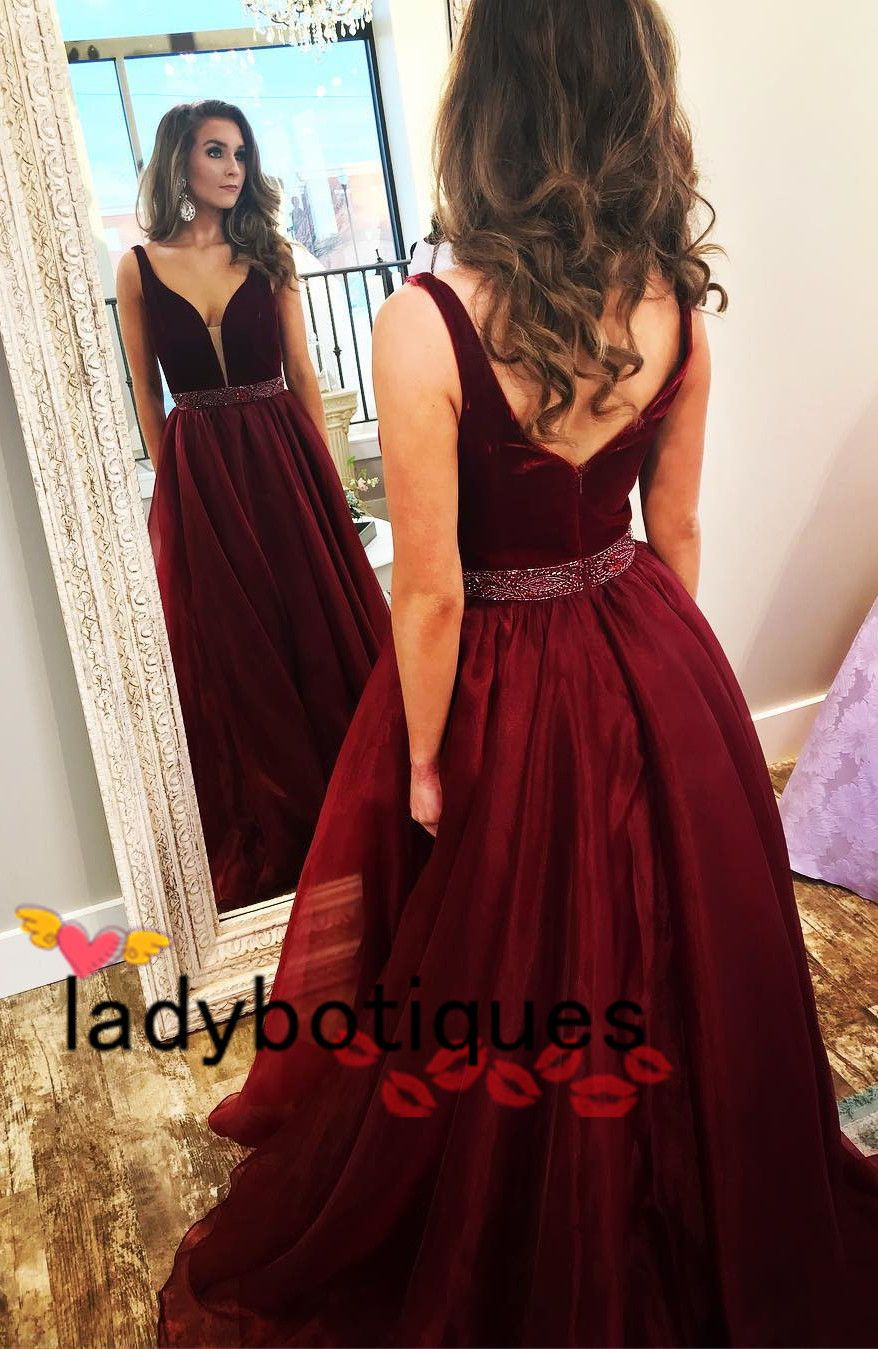 Elegant burgundy long prom dress from ladyboutiques yourself