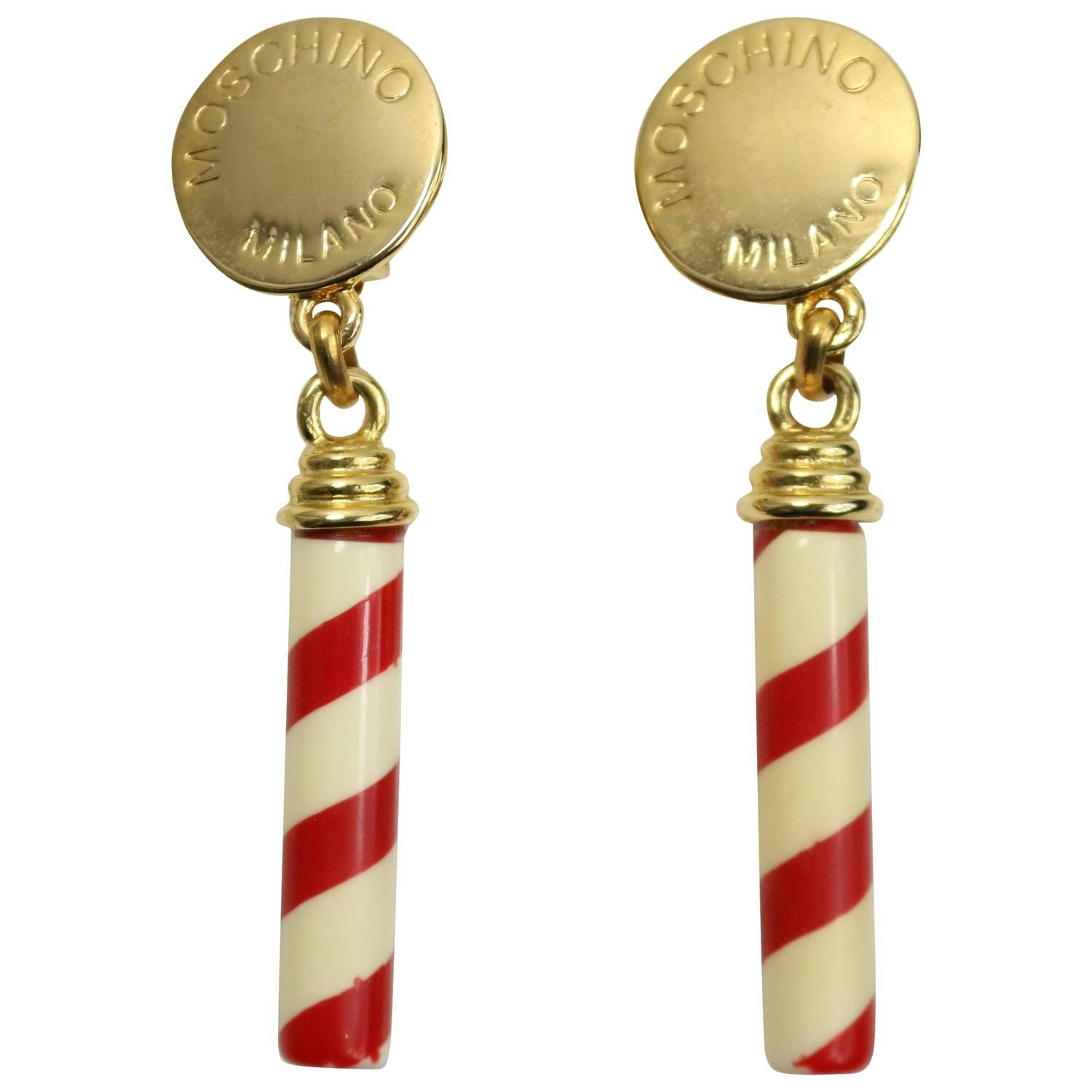 Moschino Candy Cane Drop Clip On Earrings