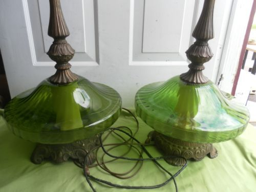 Rare Vintage Stunning Hollywood Regency Pair Of Two Green Table Lamp Large Glass Green Table Lamp Lamp Vintage Lamps