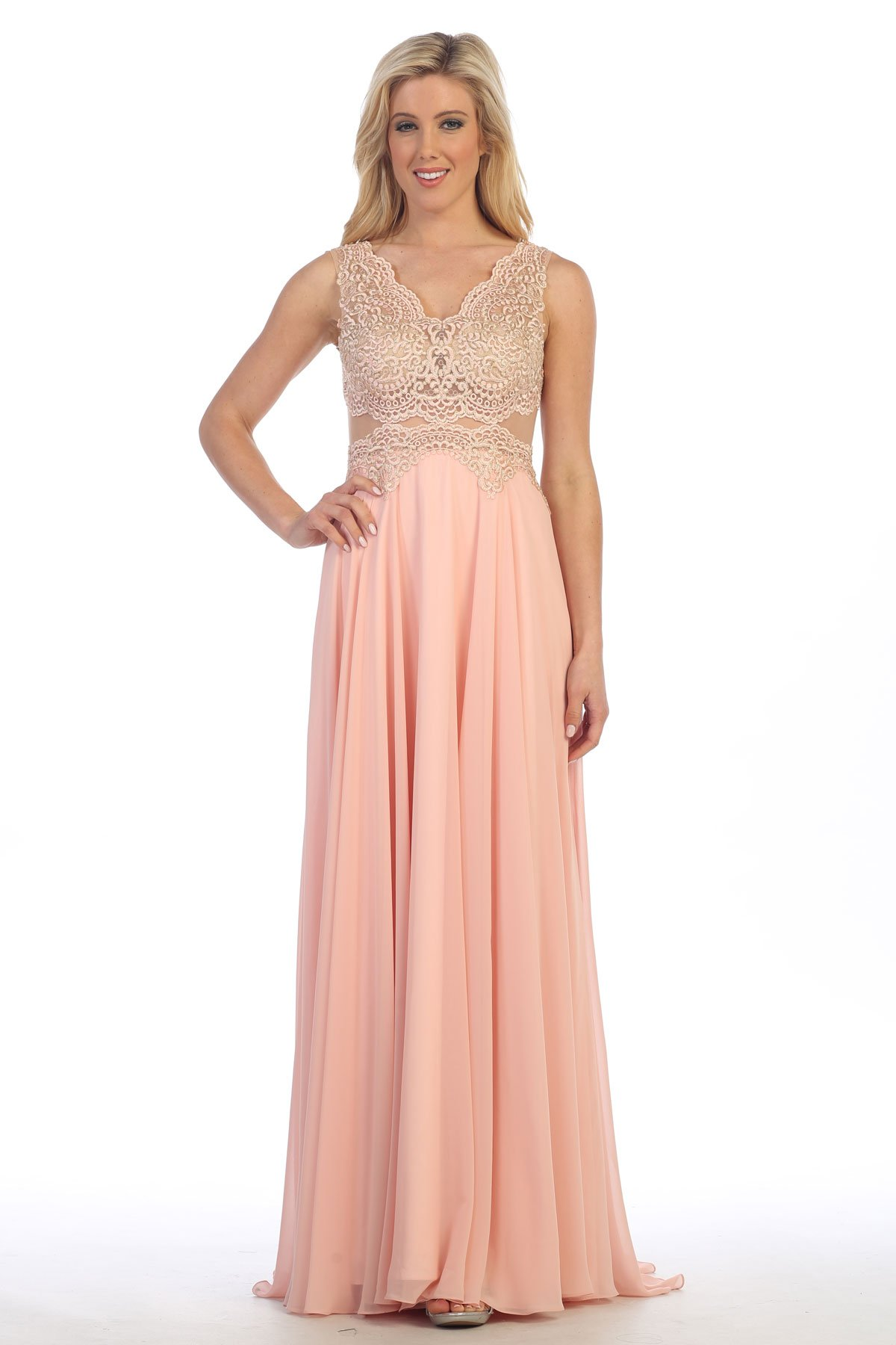 922f1523c8d Floor Length A-Line Prom and Evening Dress has Sleeveless Lace Bodice with V  Neck