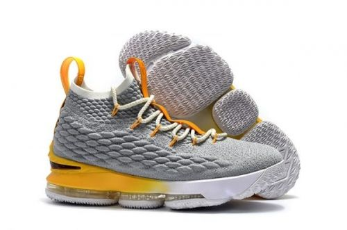 best website e7b29 87011 Nike LeBron 15 PE Cool Grey and Yellow-White For Sale