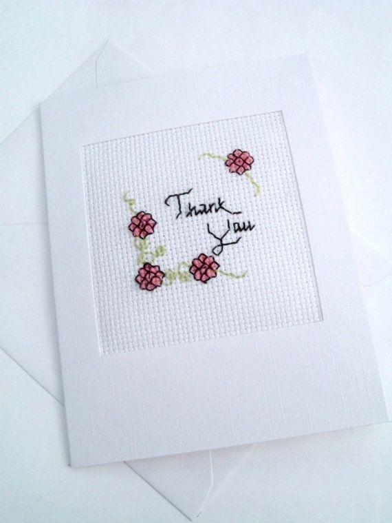 thank you cross stitch cardbramleycards on etsy £350