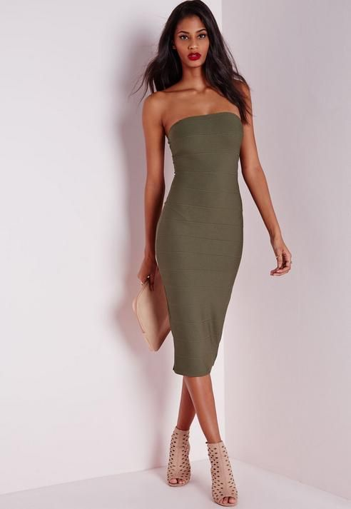 019c6d6a38 Strapless Bandage Bodycon Dress Khaki