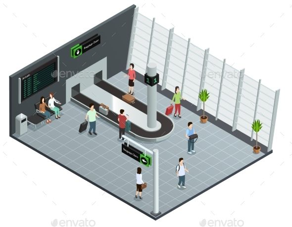 Airports Baggage Carousel Isometric Composition Isometric Isometric Design Isometric Art