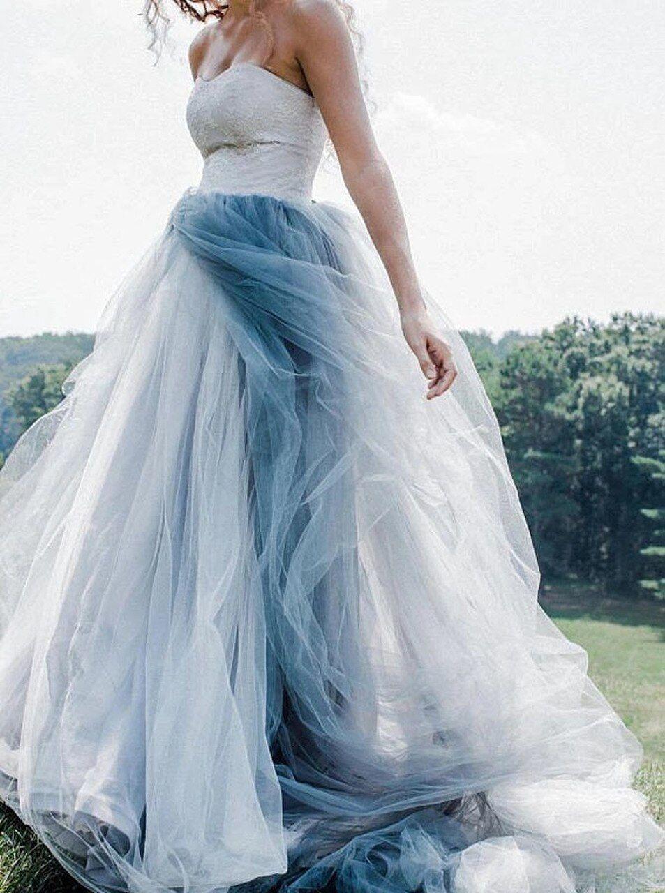 Blue Wedding Dress Puffy Wedding Dress Princess Wedding Etsy Blue Wedding Dresses Light Blue Prom Dress Blue Ball Gowns [ 1191 x 794 Pixel ]