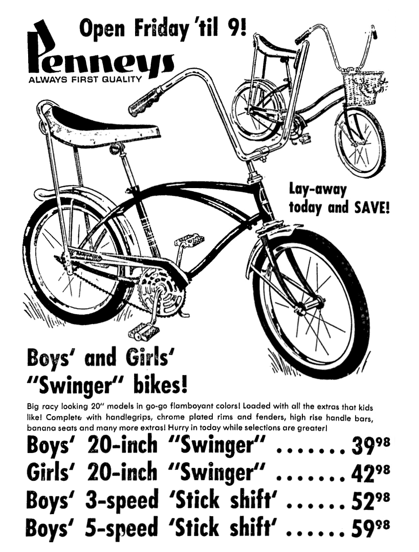 penneys jcpenney bicycles september 1967 1960 s newspaper Newspaper From 1963 penneys jcpenney bicycles september 1967 newspaper advertisement bicycles retail september