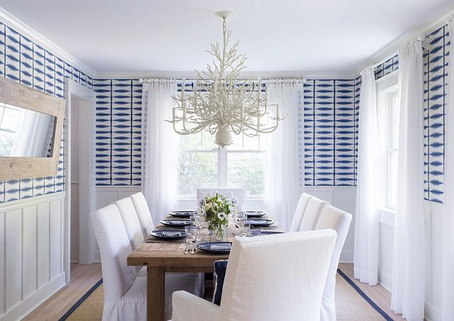 East Hampton Beach Cottage   Beautiful Coastal Dining Room Features  Bleached Wood Floors, Sisal Rug, Slipcovered White Cotton Chairs, Blue And  White ...