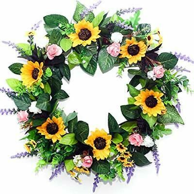 Photo of SquarePie 20 Inches Summer Wreath Sunflower Wreath for Front Door Sunflower #fas…