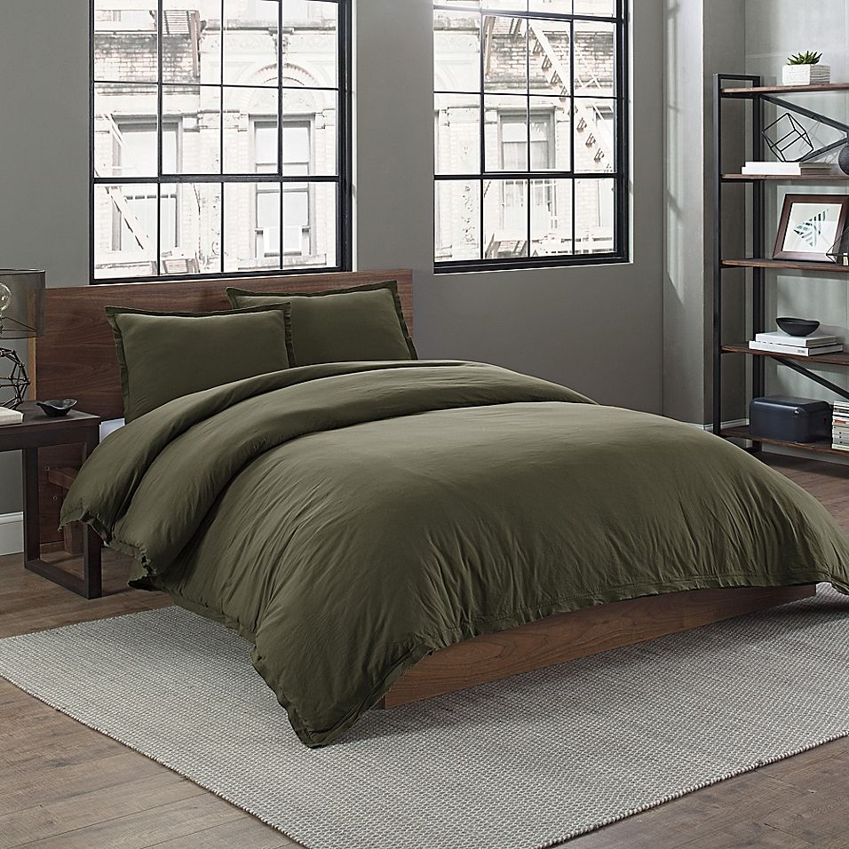 Garment Washed Solid Twin Duvet Cover Set In Army Green In 2020