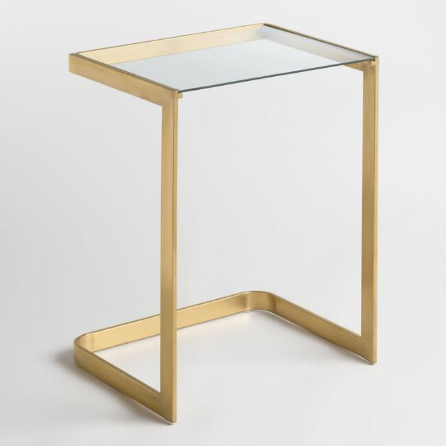Featuring A Crystal Clear Glass Tabletop Our Exclusive Laptop Table Emanates Elegant Simplicity Its Gold Toned Laptop Table Cheap Living Room Sets Furniture