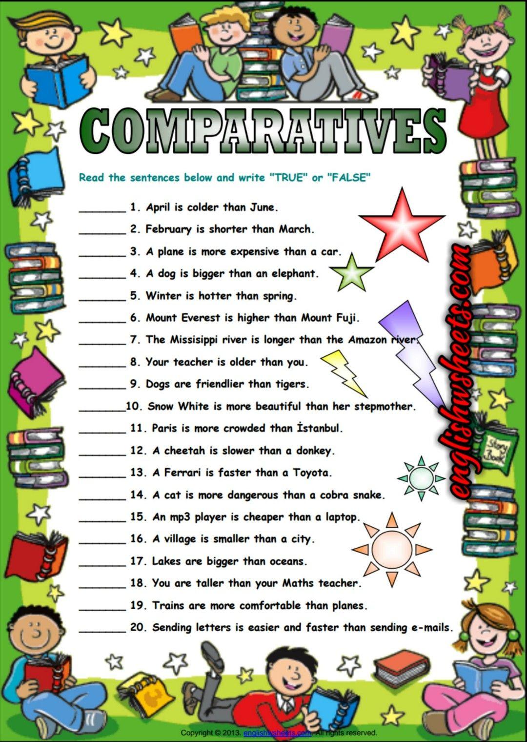 Comparatives True Or False Esl Exercise Worksheet Comparative Adjectives Worksheet Comparative Adjectives Adjectives