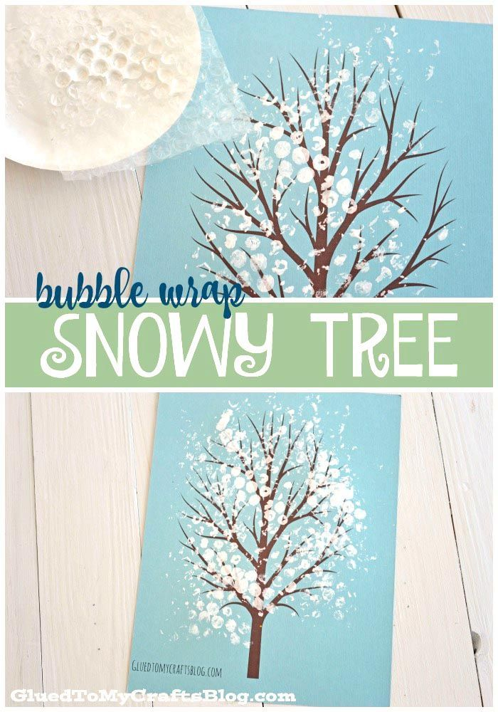 Bubble Wrap Snowy Tree - Winter Themed Kid Craft Idea w/free printable template