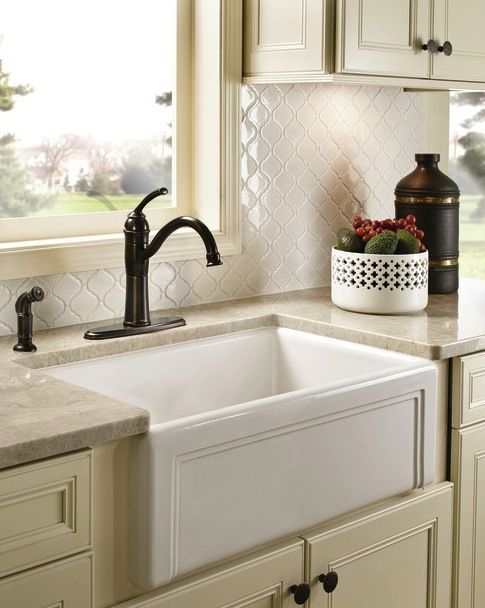 Farmhouse Sink In A Traditional Neutral Kitchen With A Moen High Arc Kitchen  Faucet.i Love This Sink And Faucet For My French Country Kitchen