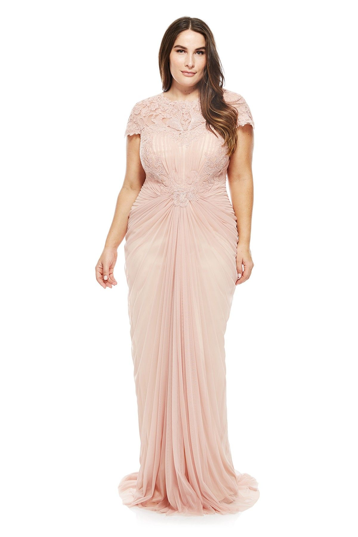 Tadashi Shoji Plus Size - Corded Lace and Draped Tulle Gown | Gowns ...