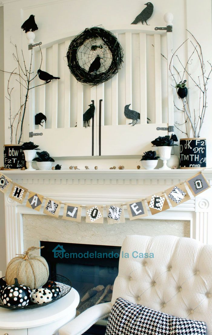 Halloween Mantel with Crows on a Gate Mantels, Crows and Gate