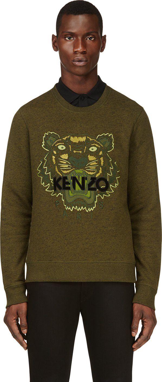 b2e4e794 Kenzo - Green Embroidered Tiger Sweatshirt   dream fashion arsenal ...