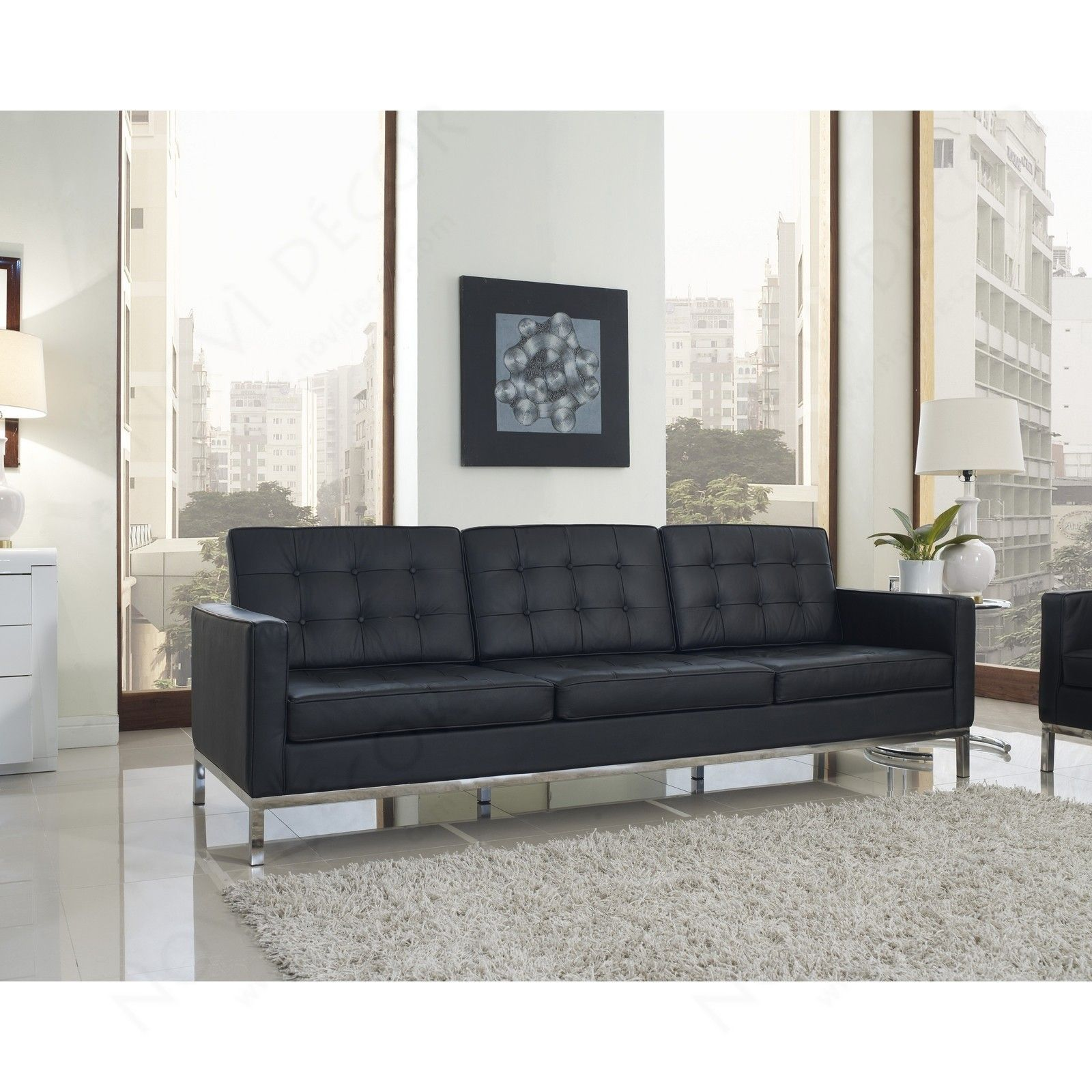 Florence Knoll Sofa In Leather Black 1 Jpg With Images