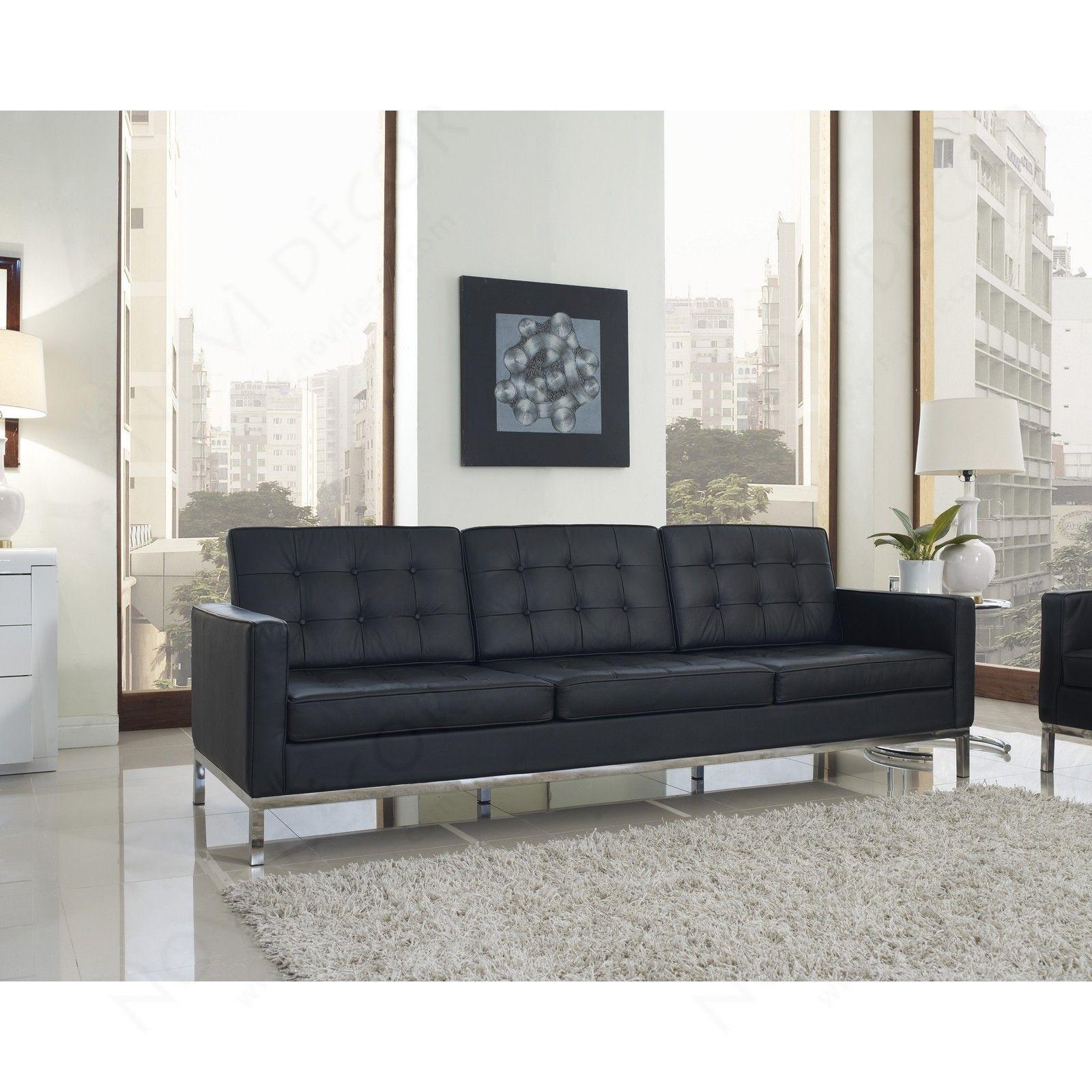 Florence Knoll Ledersofa   Dreisitzer Sofa Einrichtung Für Das Wohnzimmer