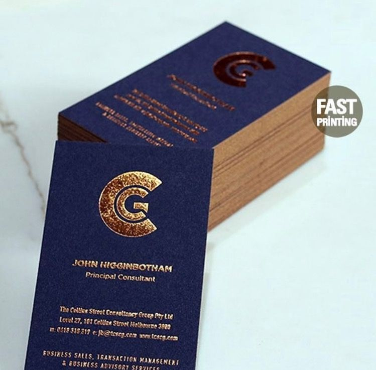business card navy copper