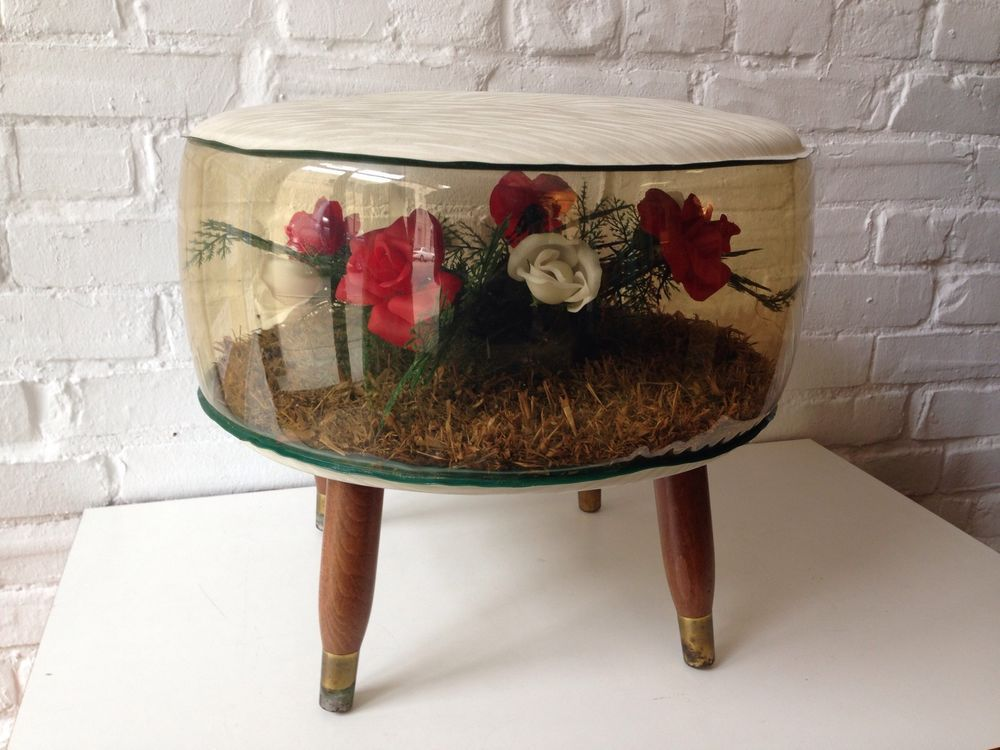 Vintage Inflatable Ottoman Kitsch Roses Retro 1950s 60s