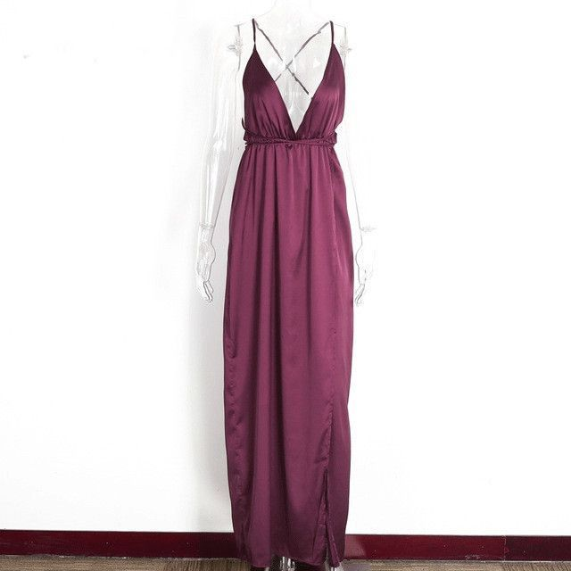 Solid satin backless long dress Women