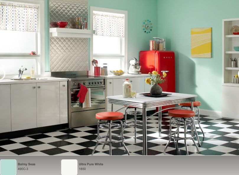 50s Kitchens sea foam wall and yellow painting. 50s retro kitchen | home