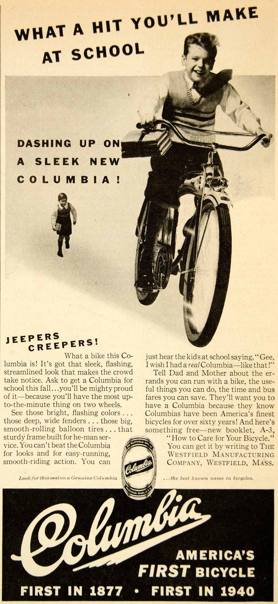 1940 Ad Columbia Bicycle Westfield Ma Streamline Balloon Tires Sportin Balloon Tire Bicycle Vintage Advertisements