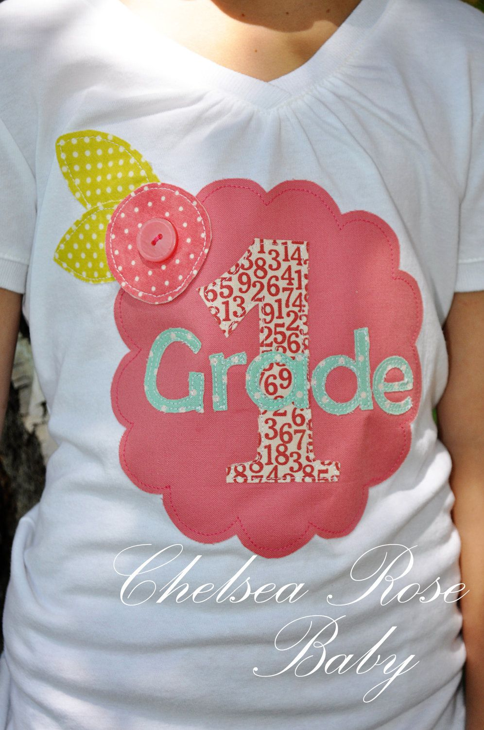 or Class of 2024. Appliqued, Personalized First day of school, 1st grade. $18.00,
