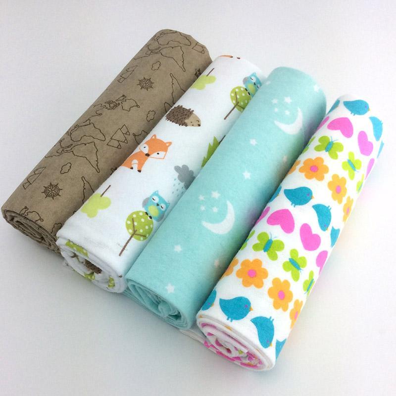 4pcs Lot Newborn Baby Bed Sheet Bedding Set 76x76cm For Newborn Crib Sheets Cot Linen 100 Cotton Flannel Printing Baby Blanket In 2020 Newborn Baby Bedding Swaddle Blanket Set Flannel Baby Blankets