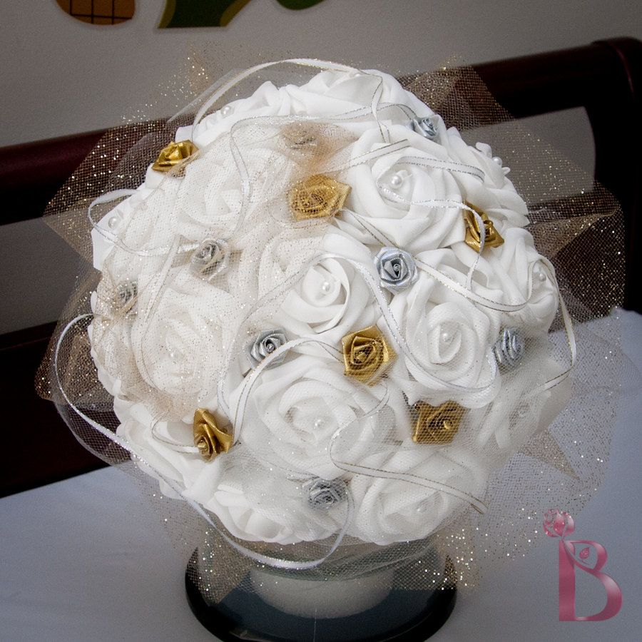 Classic traditional white bouquet, silver and gold wedding bridal ...