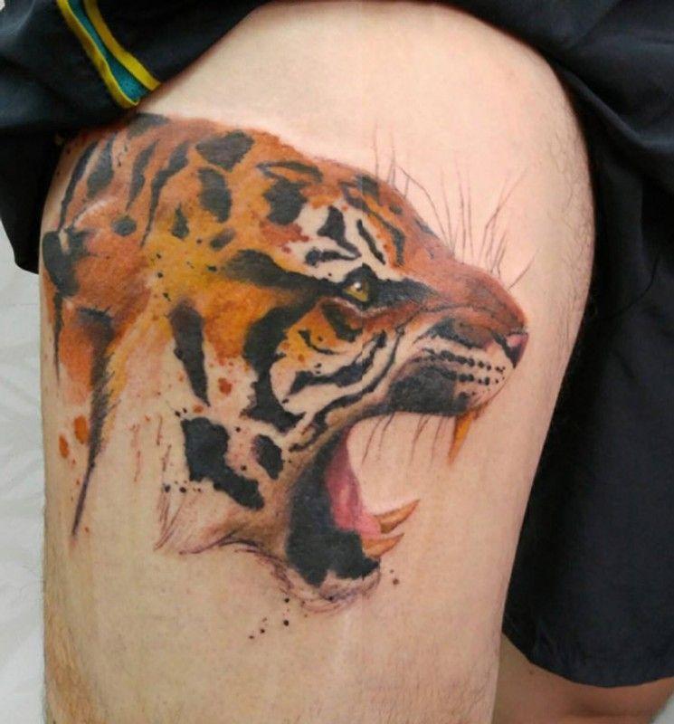 Tiger Thigh Tattoo Tiger Tattoo Side Body Tattoos Picture Tattoos