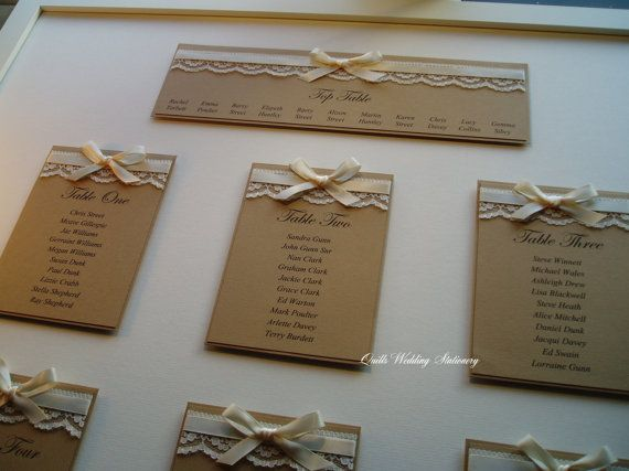 Coutry Style Wedding Table Plan. Various by QuillsWeddingFavours www.quillsweddingstationery.co.uk https://www.facebook.com/pages/Quills-Wedding-Stationery/278003989009997