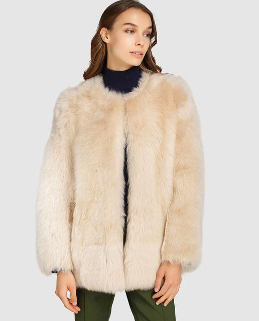 nueva colección 8b234 53e12 Chaqueta de mujer El Corte Inglés con pelo en color beige ...