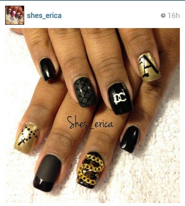 3D nail art. Chanel nails. Rosary nails. Matte nails. Black nails ...