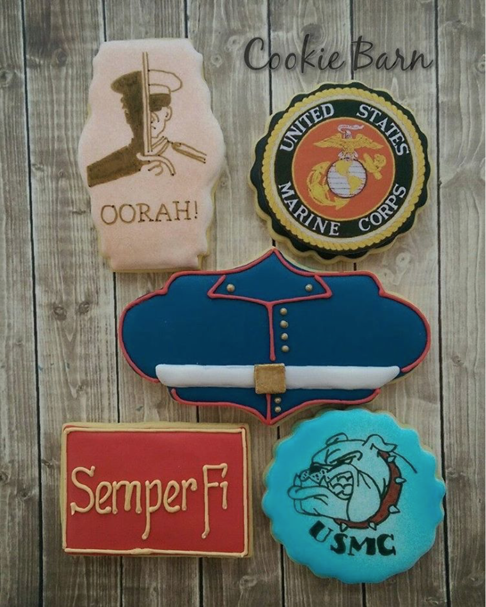 USMC decorated cookies cookiebarn6, instagram Cookie