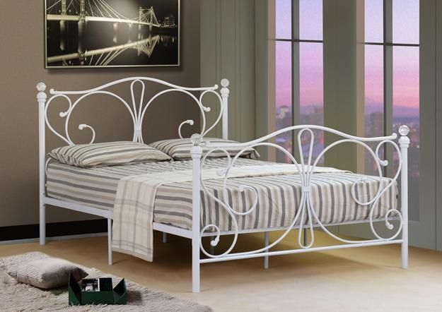 Image Result For White Small Double Wrought Iron Bed White Metal Bed Frame White Metal Bed Iron Bed Frame