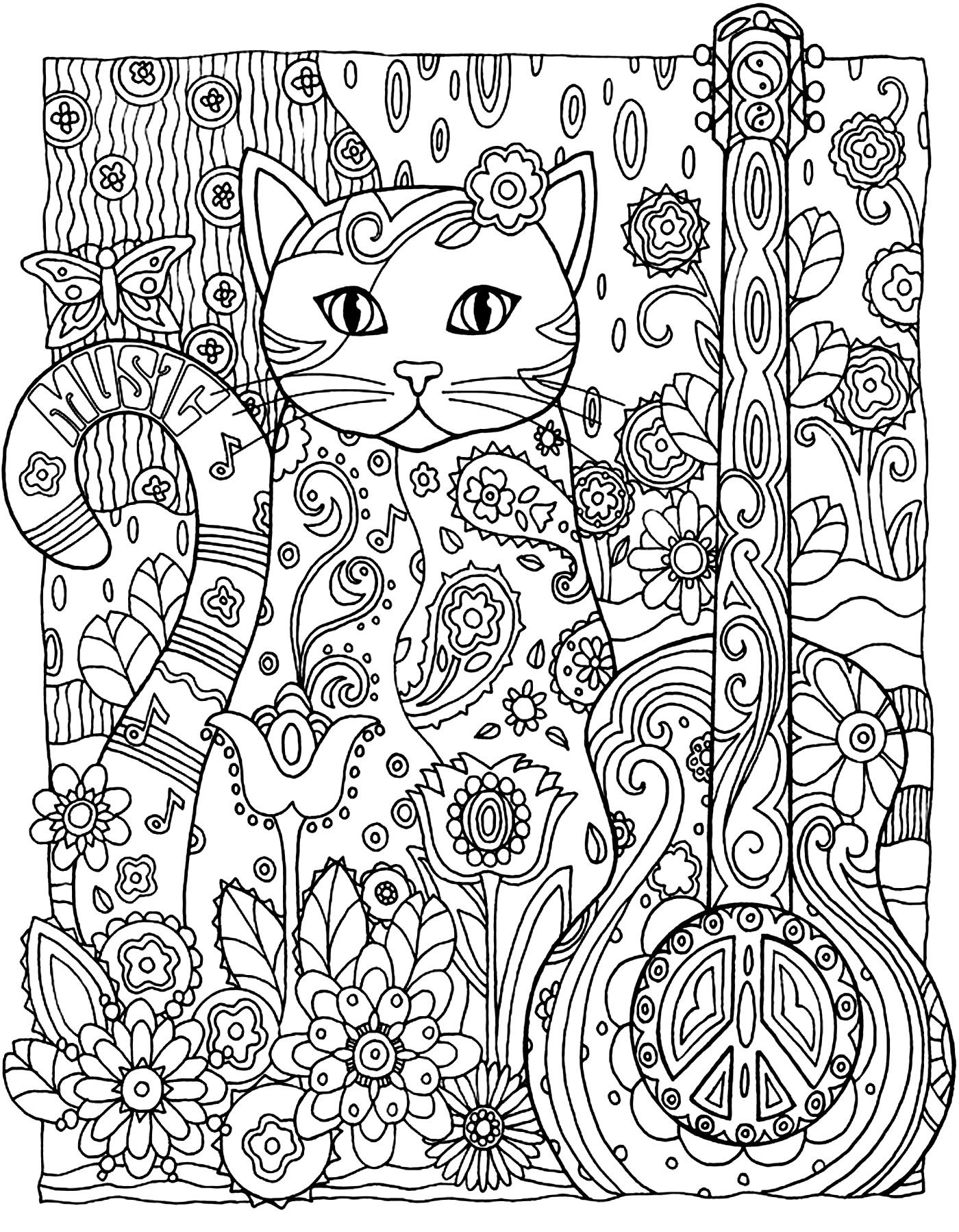 Galerie de coloriages gratuits coloriage adulte animaux chat guitare Un chat