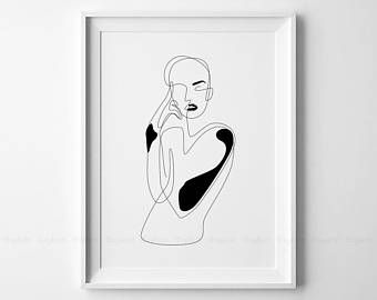 Line Drawing Face Woman : Elegant one line face art woman fashion sketch printable