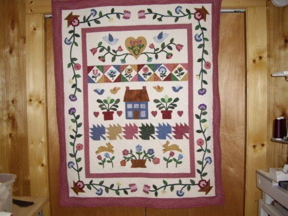 Country style appliqued quilt for the home quilts